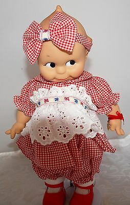 Effanbee Kewpie doll Jasco 1987 red Gingham dress with Stand