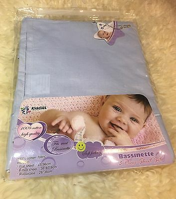 Bassinet Sheet Set Comes With Fitted, Flat Sheet And Pillow Case. blue Color