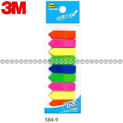 3M Post-it Flags, 584-9 9 Colors Bookmark Point Sticky Note Plastic Paper Index