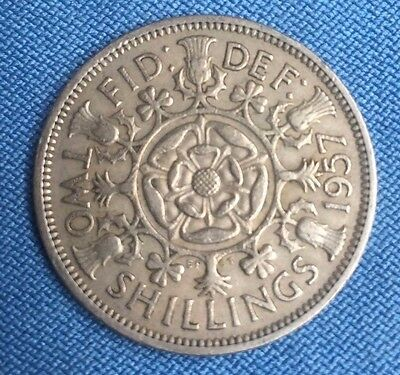 1 x Great Britain/UK/England 1957 two shillings florin coin............... #0876