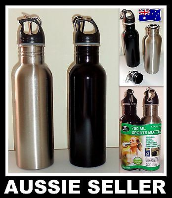 2 X 750ML Stainless Steel BPA Free Water Drink Bottle Cycling Gym Sports Camping