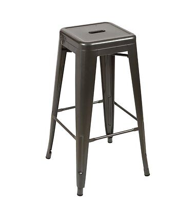 Tolix Style Counter Stool Stackable Modern Pauchard Style Metal Gunmetal