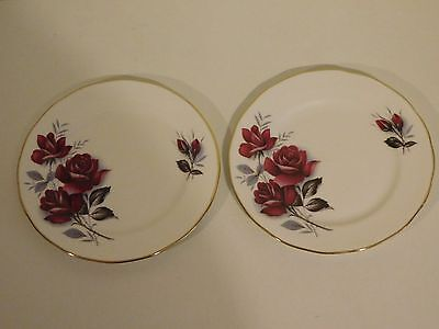Two Queen Anne Bone China SIde Plates with Rose Pattern 16cm