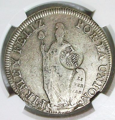 Nd(1834) Philippines Ferdinand Vii Silver Counterstamped Peru 8 Reales Ngc Vf-25