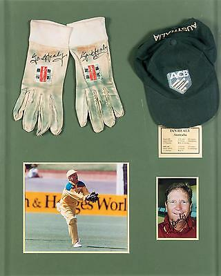 IAN HEALY, display with pair of signed inner-gloves, window mounted with signed