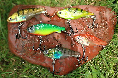 5 x 62mm New Soft Plastic Vibes, Redfin Bass Bream. Muzzas lures