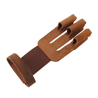 Pull Bow Leather 3 Finger Archery Glove Bow Shooting Finger Protect Arrow Gloves