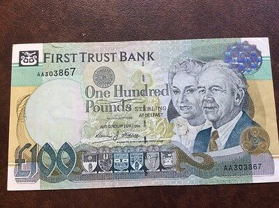 FIRST TRUST BANK £100.00 note.  VF condition 1st Jan1998 issue