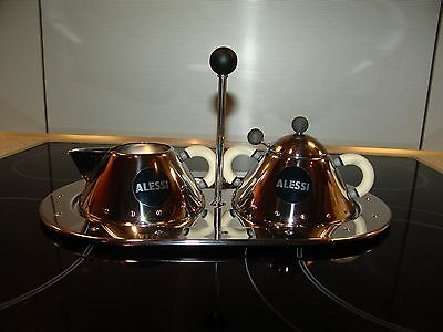 Alessi tray, sugar bowl and milk jug. Design Michael Graves