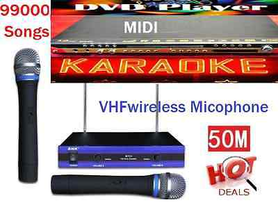 English Tagalog 99000 karaoke Songs MIDI DVD player*+ 2 VHF Wireless Microphone