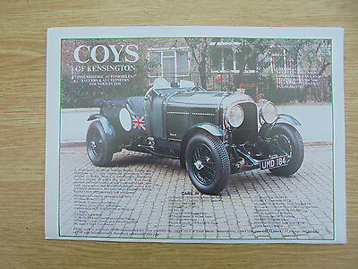 vintage glossy advert for coys of kensington,le mans bentley,11.5x8.25 inches