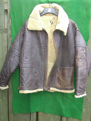 VINTAGE 1940s MILITARY ISSUE USA LEATHER FLYING JACKET 44 INCH