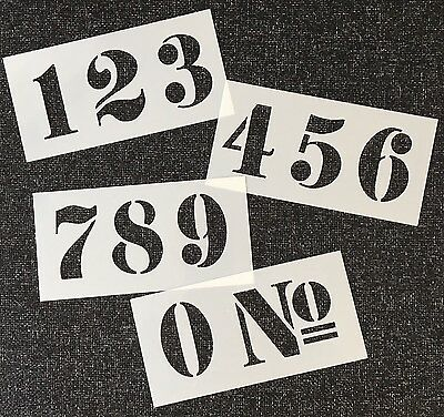 NUMBERS STENCIL 50mm high FRENCH STYLE on Four Tough 145 X 75mm Plastic Sheets