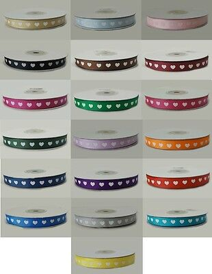 10mm x 25 metre Full Roll Grosgrain ribbon with white hearts - various colours