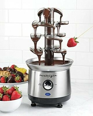 2 Pound Capacity Stainless Steel Cascading Chocolate Fondue Fountain Auger style