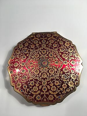 Pretty Vintage Gold And Red Colour Signed Stratton Compact