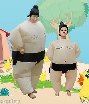 Air blown Inflatable Sumo Wrestler Costume Belly Buster Mens Women Jumpsuit prop