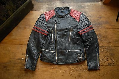 Vintage German Black & Red Leather Ries Zip Cafe Racer Motorcycle Biker Jacket 3