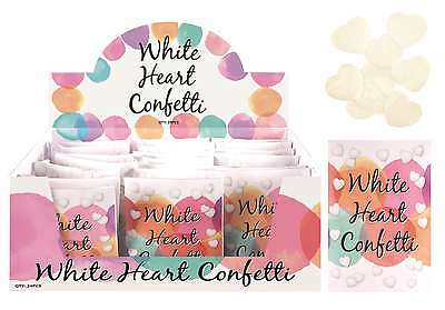 New - White Heart Shaped Wedding Confetti - Sealed Paper Pack Packs Box