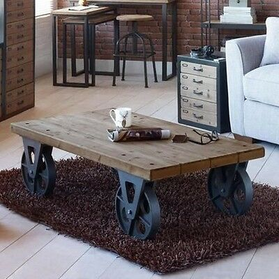 X Large Industrial Wooden Iron Coffee Table with Black on Wheels Retro Vintage