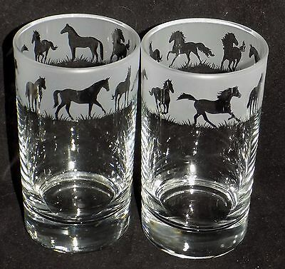 "Hand Etched Pair of ""HORSE"" Hiball Glass - Beautiful Gift - Free Gift Box"