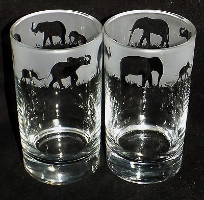 "Hand Etched Pair of ""ELEPHANT HIBALL GLASSES"" ~  Beautiful Gift - Free Gift Box"