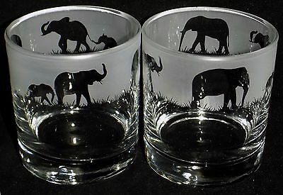 """New Etched Whiskey Glass(es) """"Elephant"""" - You can purchase 1 or 2 - Lovely Gift"""