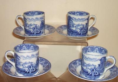 VINTAGE ROYAL CAULDON BLUE & WHITE CHARIOTS 4 x COFFEE CAN & SAUCERS