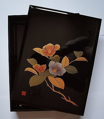 Authentic Japanese Wooden Lacquered Box - Camellia Motifs