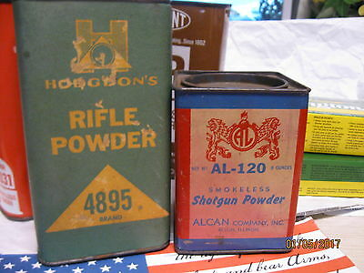 2 Very Good 1950-60's Alcan Shotgun and Hodgdon Rifle Powder Cans storage tins