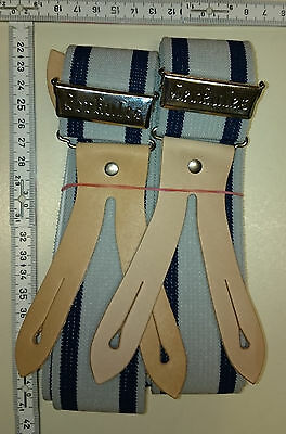 HERKULES  suspenders      Made in Germany   grey / blue      size Medium / Large