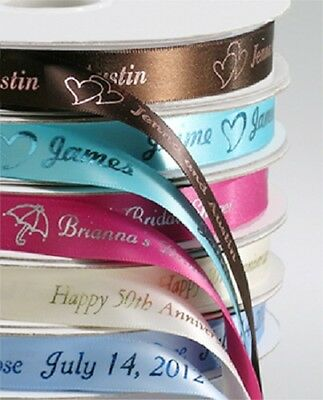 10mm PERSONALISED PRINTED RIBBON : WEDDING RIBBON,CHRISTENING,WEDDING FAVOURS