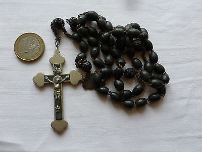 Beautiful N D Souvenir de Lourdes French Religious Rosary Beads 6 Carved Beads