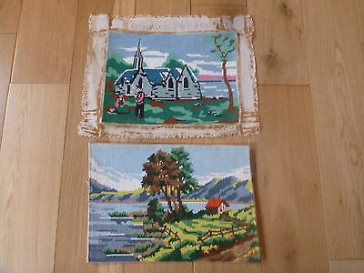 """Two Small French Completed Wool Tapestry Church / Lake Cabin Scene  12 """" x 9 """""""