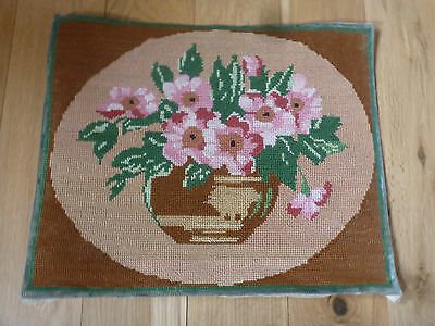 """Pretty Vintage French Completed Cotton Tapestry Vase of Flowers  18 """" x 15 """""""