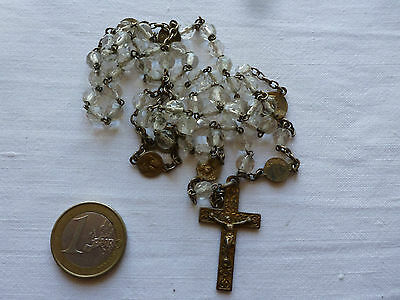 Quality Gold Vintage French Religious Rosary Beads Several Medals Clear Beads