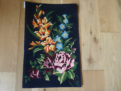 """DMC French Completed Wool Tapestry Beautiful Flower Display Rose 13 """" x 20.5 """""""