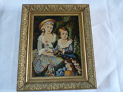 """Beautiful Framed French Completed Fine Needlework Young Woman & Boy 6 """" x 8.5 """""""