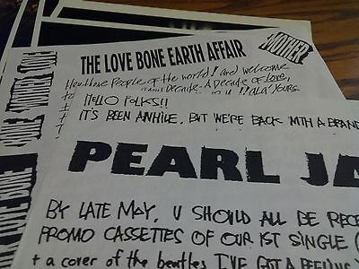 Pearl Jam Early Letter to Fanclub Band Info Reprint Kerrang Hard Rock