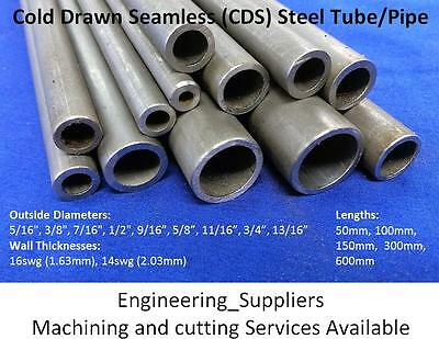"Cold Drawn Seamless Steel Pipe Tube, 5/16"" to 13/16"", 16swg & 14swg, Various Len"