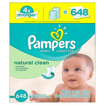 Pampers Baby Wipes Natural Clean 9x Refill 648 Count