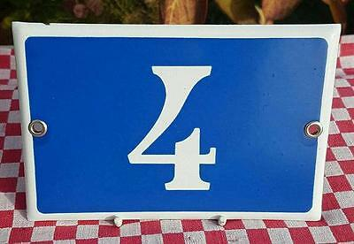 Vintage French Industrial Traditional Blue & White Enamel Door / House Number 4