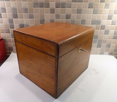 Victorian Solid Oak Box With Interior Brass Plaque Dated 1875- Good Lock & Key
