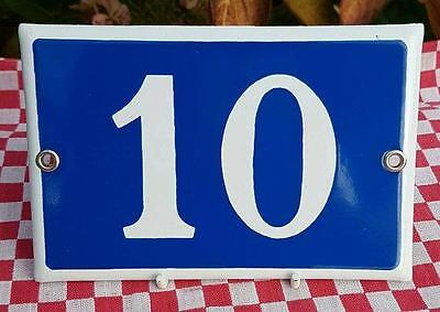 Vintage French Industrial Traditional Blue & White Enamel Door / House Number 10