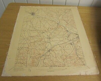 "1911 US Geological Survey Oriskany New York Map 16"" by 20"" Cloth Backed Antique"