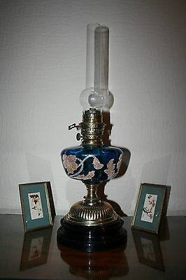 Victorian Oil Lamp Blue Gilded Glass Font With Rare German Candesco Burner
