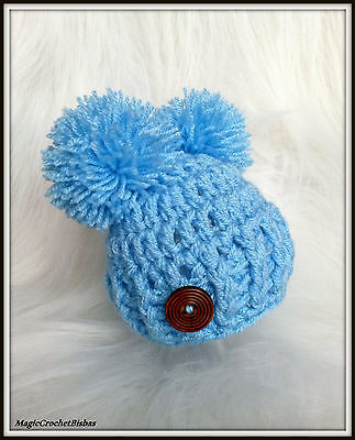 Crochet  little pom pom BOY  hat photo prop gift baby shower  @