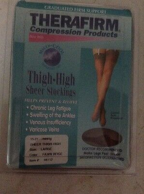 thigh high compression stockings L fawn beige Swelling/leg Fatigue/flying