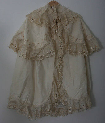 Antique Edwardian Baby Christening Cape Hand Embroidered