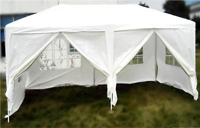 3m x 6m WHITE WATERPROOF OUTDOOR GARDEN GAZEBO PARTY TENT MARQUEE CANOPY